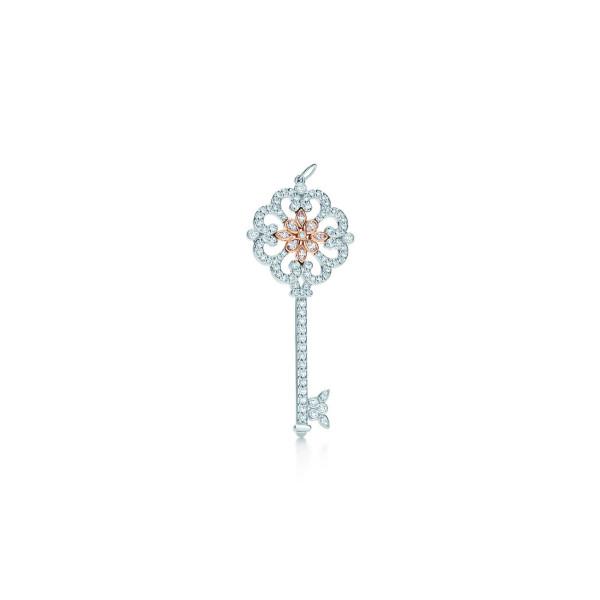 Подвеска-ключ Tiffany Keys, платина, розовое золото, бриллианты (29006164)
