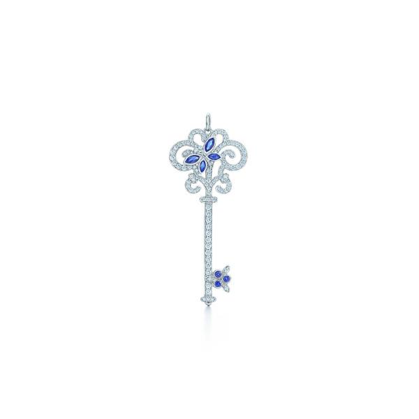 Подвеска-ключ Tiffany Enchant со стрекозой, платина, бриллианты и сапфиры