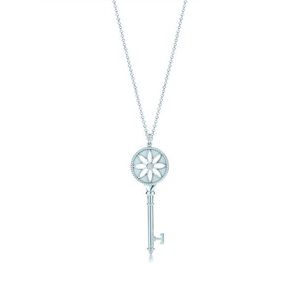 Подвеска-ключ с маргариткой Tiffany Keys, белое золото, бриллиант (26887887)