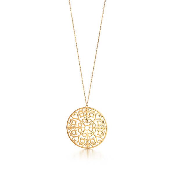 Круглая подвеска Tiffany Enchant, желтое золото (32189784)