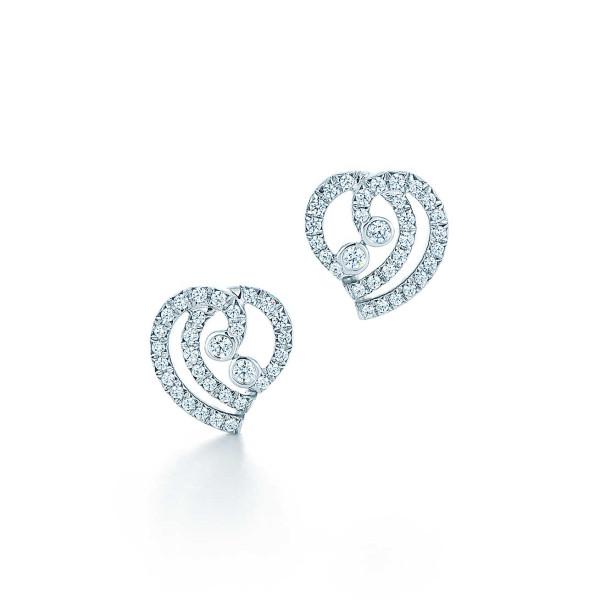 Серьги Tiffany Enchant в виде сердец, платина, бриллианты (33725906)