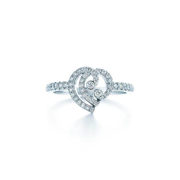 Кольцо Tiffany Enchant с сердцем, платина, бриллианты (33806337)