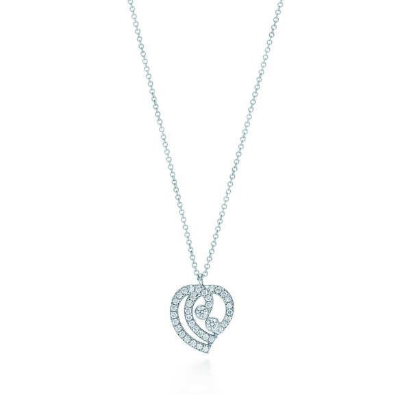 Подвеска Tiffany Enchant в форме сердца, платина, бриллианты (33725892)