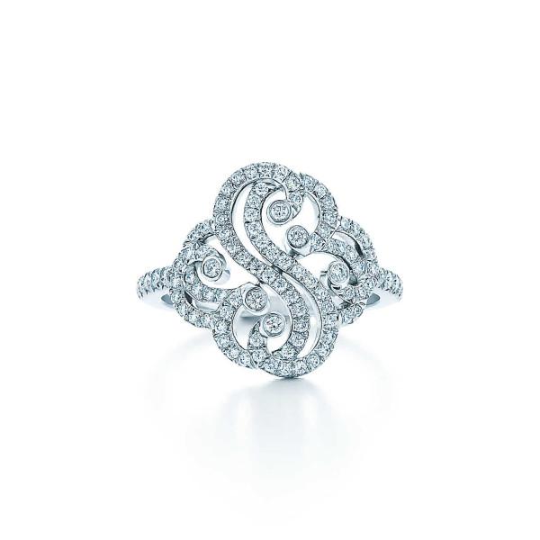 Кольцо Tiffany Enchant с двумя сердцами, платина, бриллианты (33823185)
