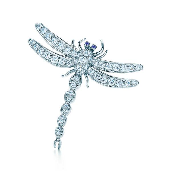 Брошь Tiffany Enchant в виде стрекозы, платина, бриллианты, сапфиры (13249687)