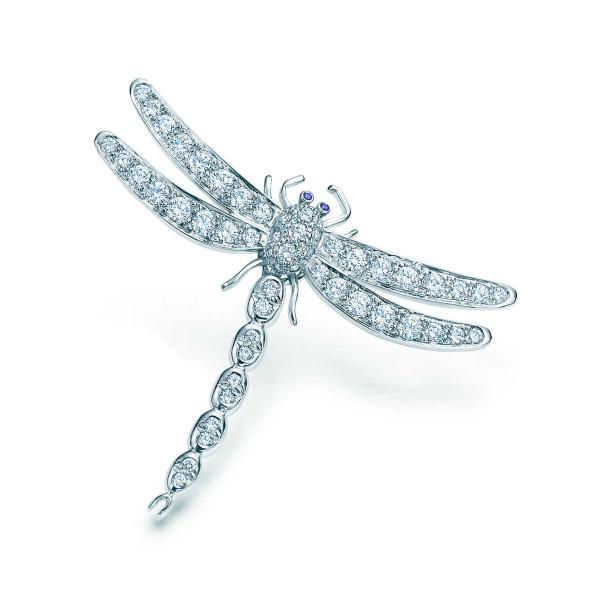 Брошь Tiffany Enchant в виде стрекозы, платина, бриллианты, сапфиры (13250235)