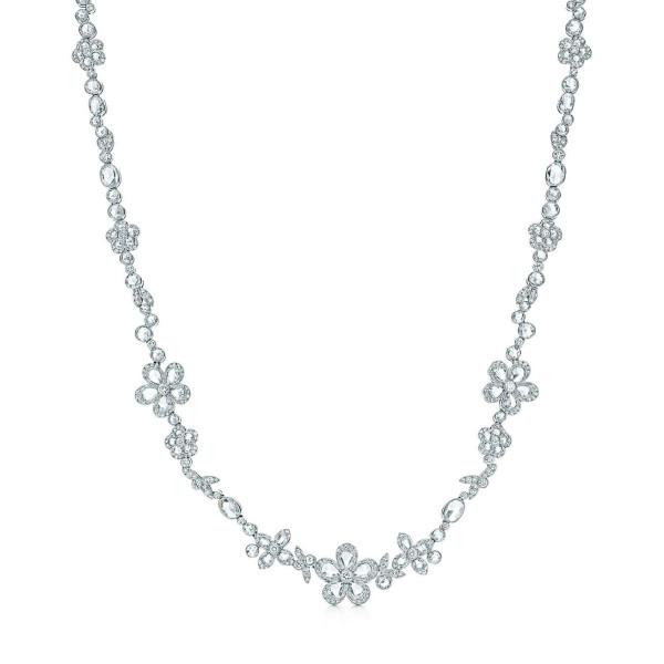 Ожерелье Tiffany Enchant с цветами, платина, бриллианты (26036925)