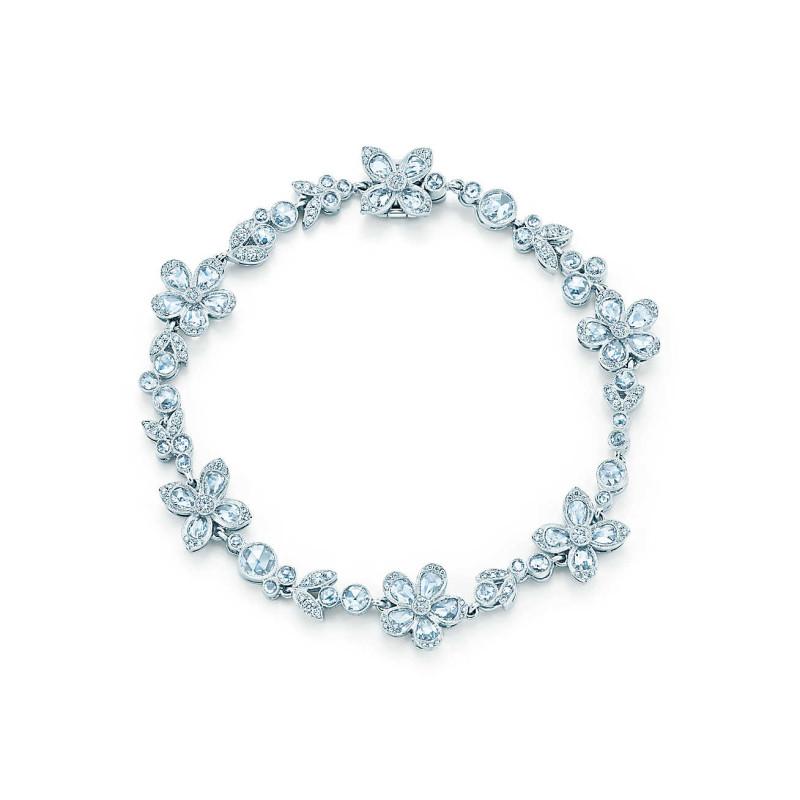 Браслет Tiffany Enchant с цветами, платина, бриллианты (27568408)