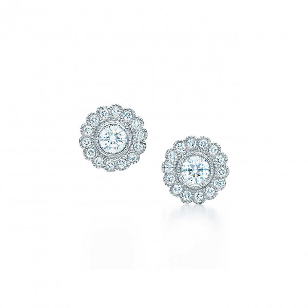 Серьги Tiffany Enchant в виде цветка, платина, бриллианты (29527857)