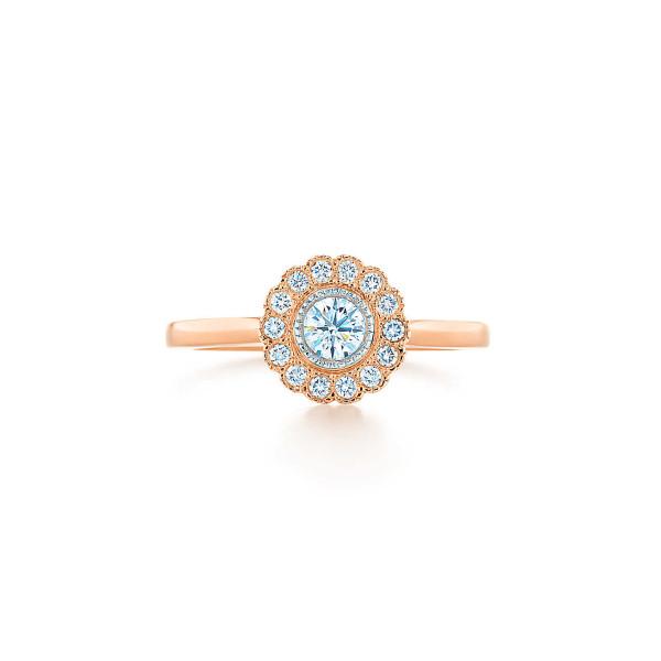 Кольцо Tiffany Enchant с цветком, платина, розовое золото, бриллианты (29530688)
