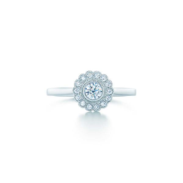 Кольцо Tiffany Enchant с цветком, платина, бриллианты (29530696)