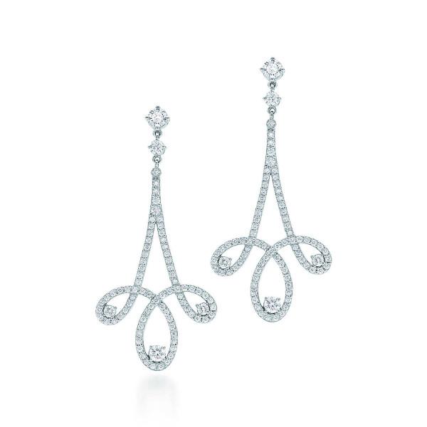 Серьги с завитками Tiffany Enchant, платина, бриллианты (28910126)
