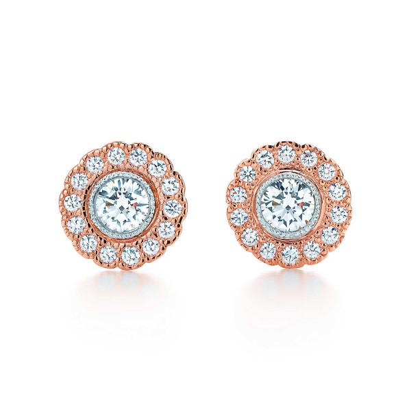 Серьги Tiffany Enchant с цветком, платина, розовое золото, бриллианты (29045399)