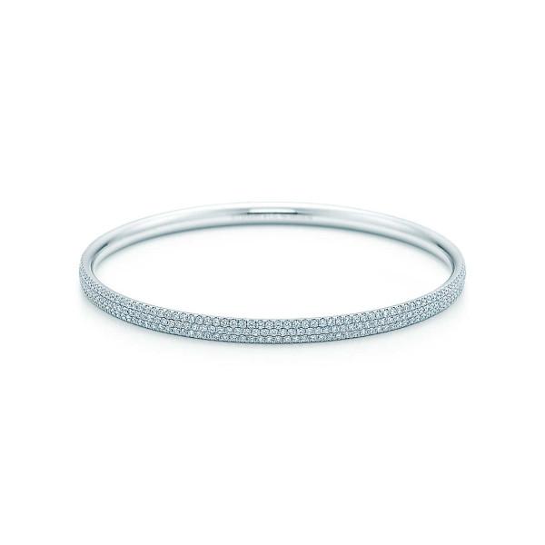 Трехрядный браслет Tiffany Metro, белое золото, бриллианты (26233097)
