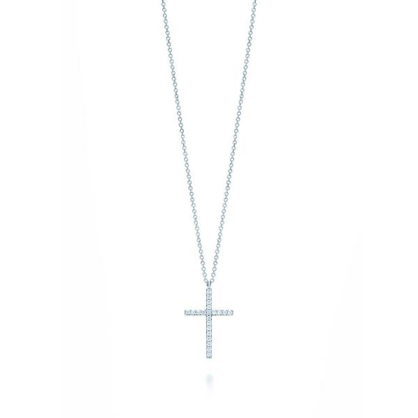 Подвеска-крестик Tiffany Metro, белое золото, бриллианты (33475438)
