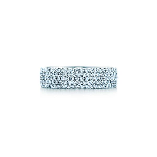 Пятирядное кольцо Tiffany Metro, белое золото, бриллианты (26232902)