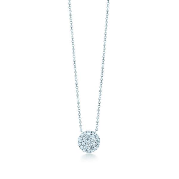 Круглая подвеска Tiffany Metro, белое золото, бриллианты (29633657)