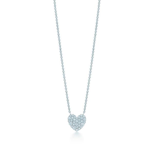 Подвеска в форме сердца Tiffany Metro, белое золото, бриллианты (29633665)