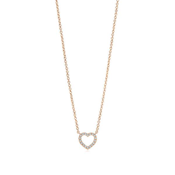 Подвеска в форме сердца Tiffany Metro, розовое золото, бриллианты (27513972)