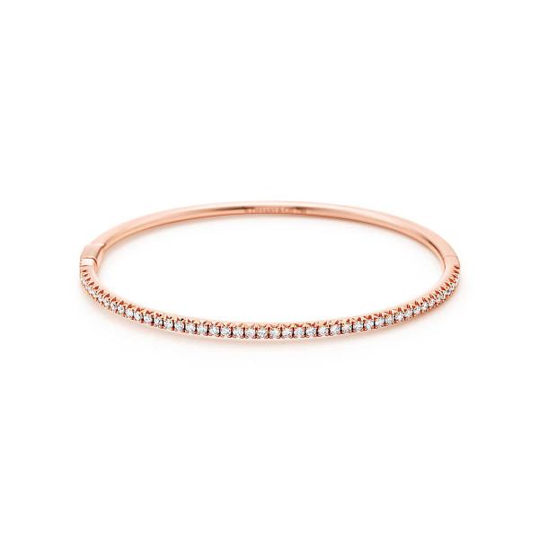 Шарнирный браслет Tiffany Metro, розовое золото, бриллианты (28821832)