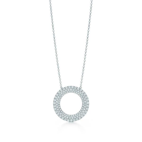 Трехрядная подвеска-круг Tiffany Metro, белое золото, бриллианты (26233151)