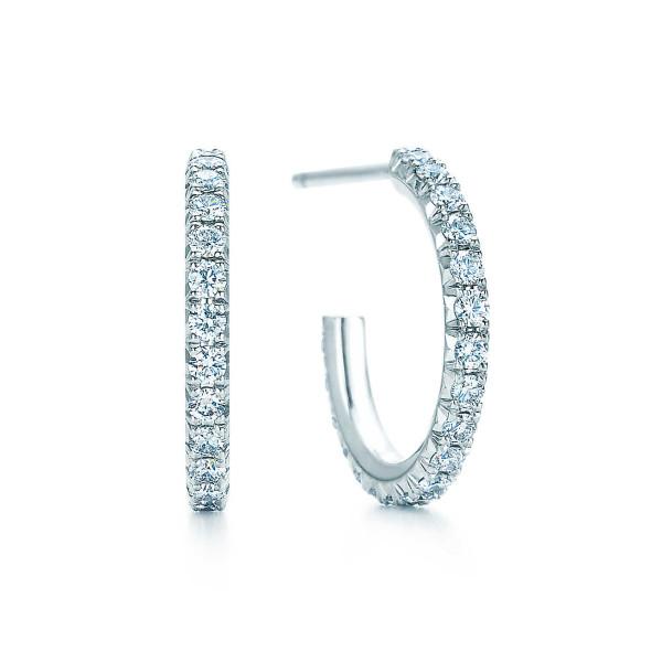 Серьги Tiffany Metro, белое золото, бриллианты (22415891)