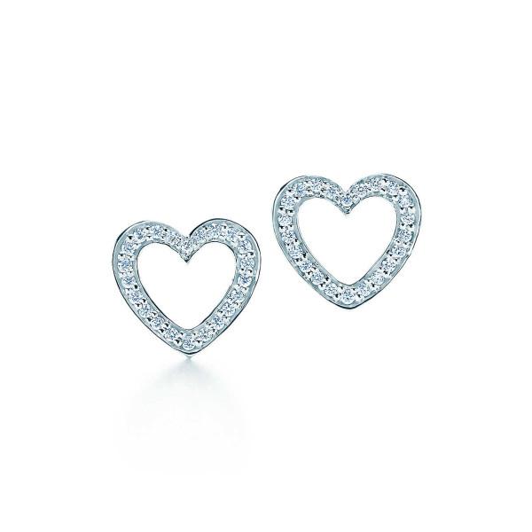 Серьги Tiffany Metro, белое золото, бриллианты (26663571)