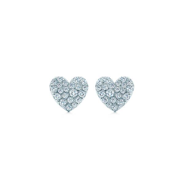 Серьги в форме сердца Tiffany Metro, белое золото, бриллианты (29753644)