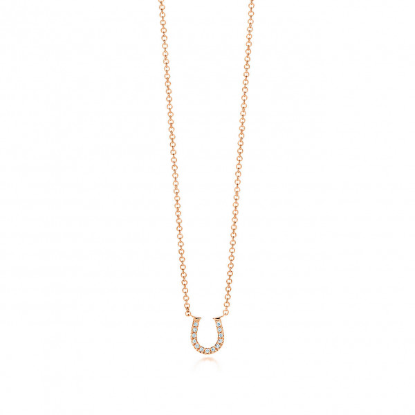 Подвеска в форме подковы Tiffany Metro, розовое золото, бриллианты (27528732)
