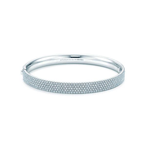 Пятирядный шарнирный браслет Tiffany Metro, белое золото, бриллианты (26232813)