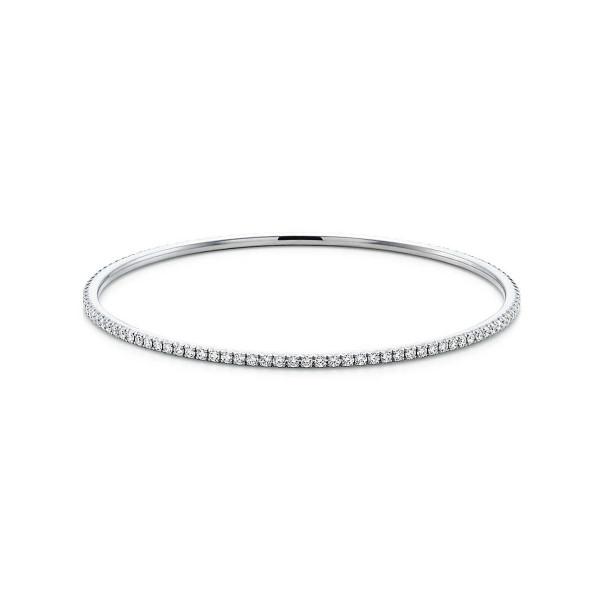 Круглый браслет Tiffany Metro, белое золото, бриллианты (24808041)