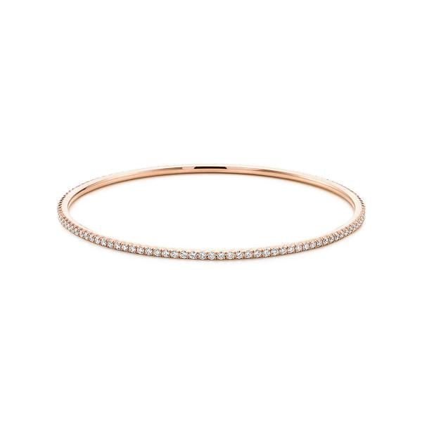 Круглый браслет Tiffany Metro, розовое золото, бриллианты (22417339)