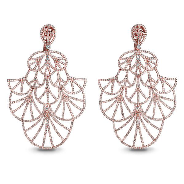 Серьги Jacob & Co. Abanico, розовое золото 750, бриллианты