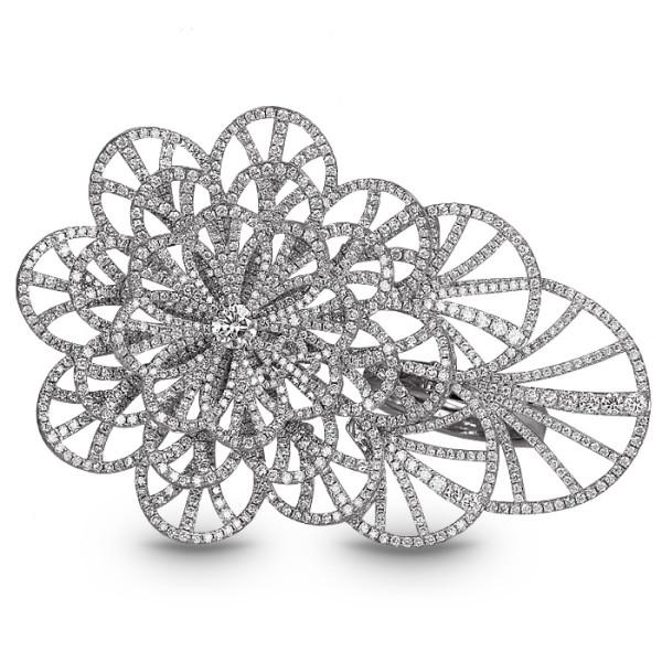 Кольцо Jacob & Co. Abanico, белое золото 750, бриллианты