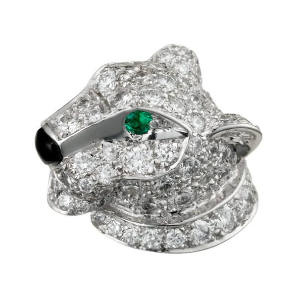 Брошь Cartier Panthere de Cartier, белое золото, бриллианты, изумруды, оникс