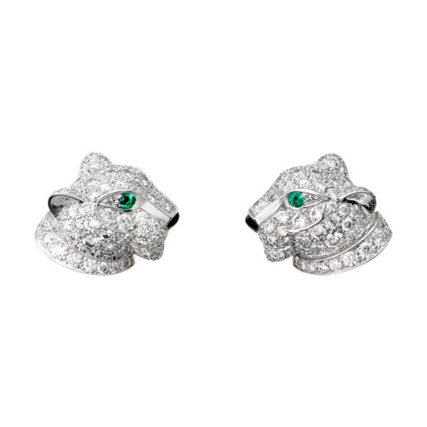 Серьги Cartier Panthere de Cartier, белое золото, бриллианты, изумруды