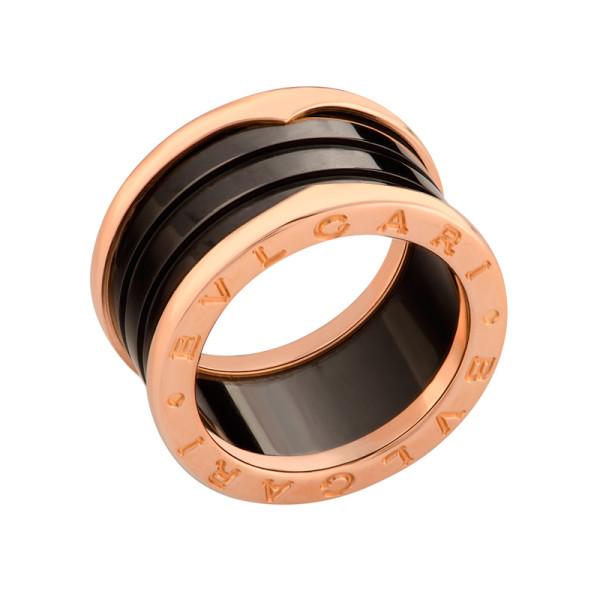 Кольцо Bulgari B.Zero1, розовое золото 750, черная керамика, размер 16,5