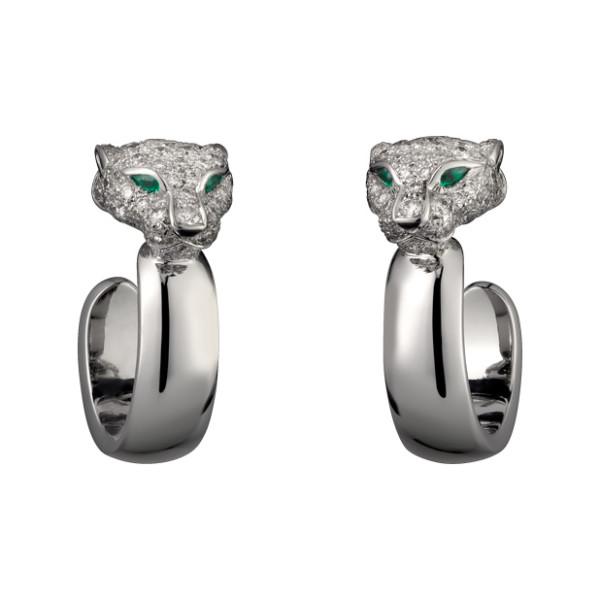 Серьги Cartier Panthere de Cartier, белое золото, бриллианты