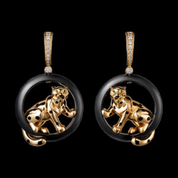 Серьги Cartier Panthere de Cartier, желтое золото, керамика, бриллианты