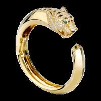 Браслет Cartier Panthere de Cartier, желтое золото, бриллианты, изумруды, оникс