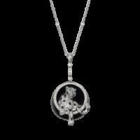 Колье Cartier Panthere de Cartier, белое золото, нефрит, изумруд, бриллианты