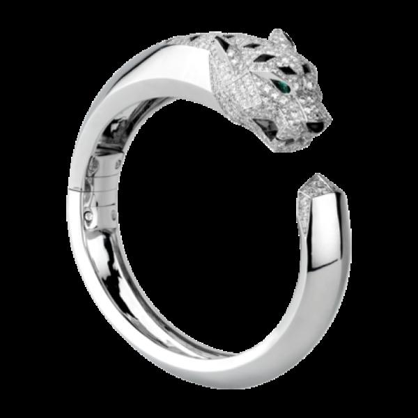 Браслет Cartier Panthere de Cartier, белое золото, бриллианты, изумруды, оникс