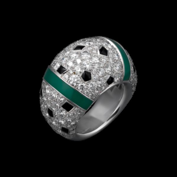 Кольцо Cartier Panthere de Cartier, белое золото, бриллианты, хризопразы, оникс