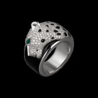 Кольцо Cartier Panthere de Cartier, белое золото, бриллианты, черный лак, оникс