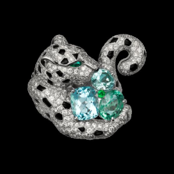 Кольцо Cartier Panthere de Cartier, белое золото, бриллианты, аквамарин