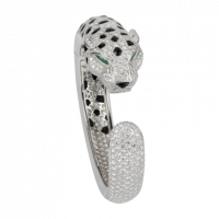 Браслет Cartier Panthere de Cartier, платина, оникс, изумруды, бриллианты