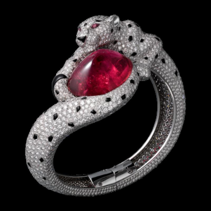 Браслет Cartier Panthere de Cartier, платина, розовые сапфиры, бриллианты