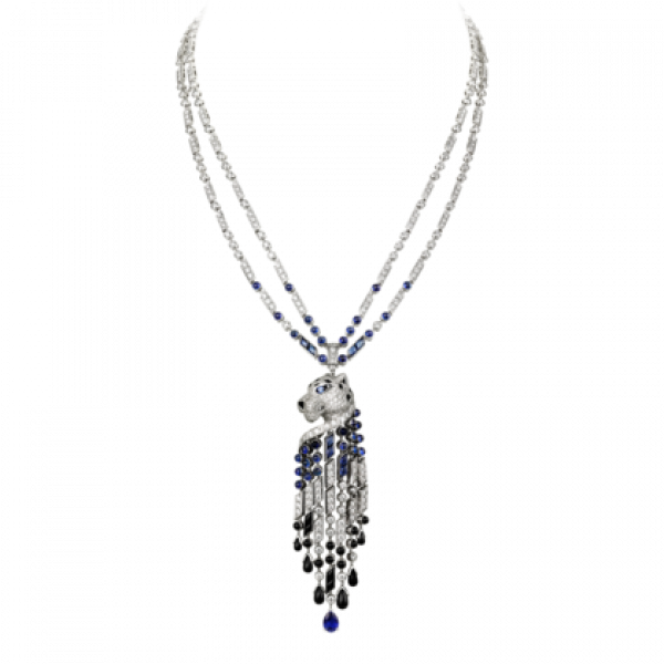 Колье Cartier Panthere de Cartier, платина, сапфиры, оникс, бриллианты