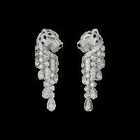 Серьги Cartier Panthere de Cartier, платина, бриллианты, изумруды, оникс