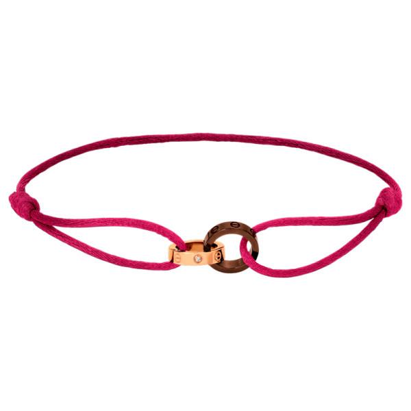 Браслет Cartier Love, розовое золото, керамика, бриллианты